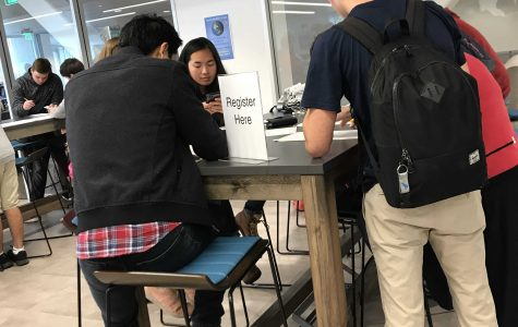 Students register to vote following walkout