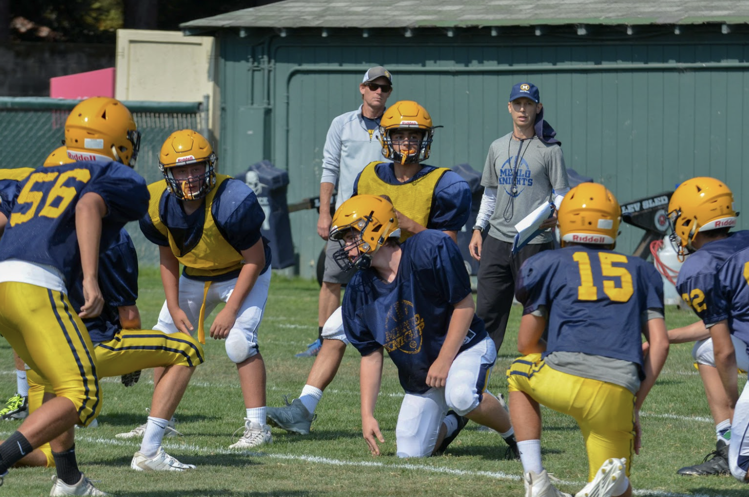 Menlo football players at a pre-season practice. Photo courtesy of Pam Tso McKenney.