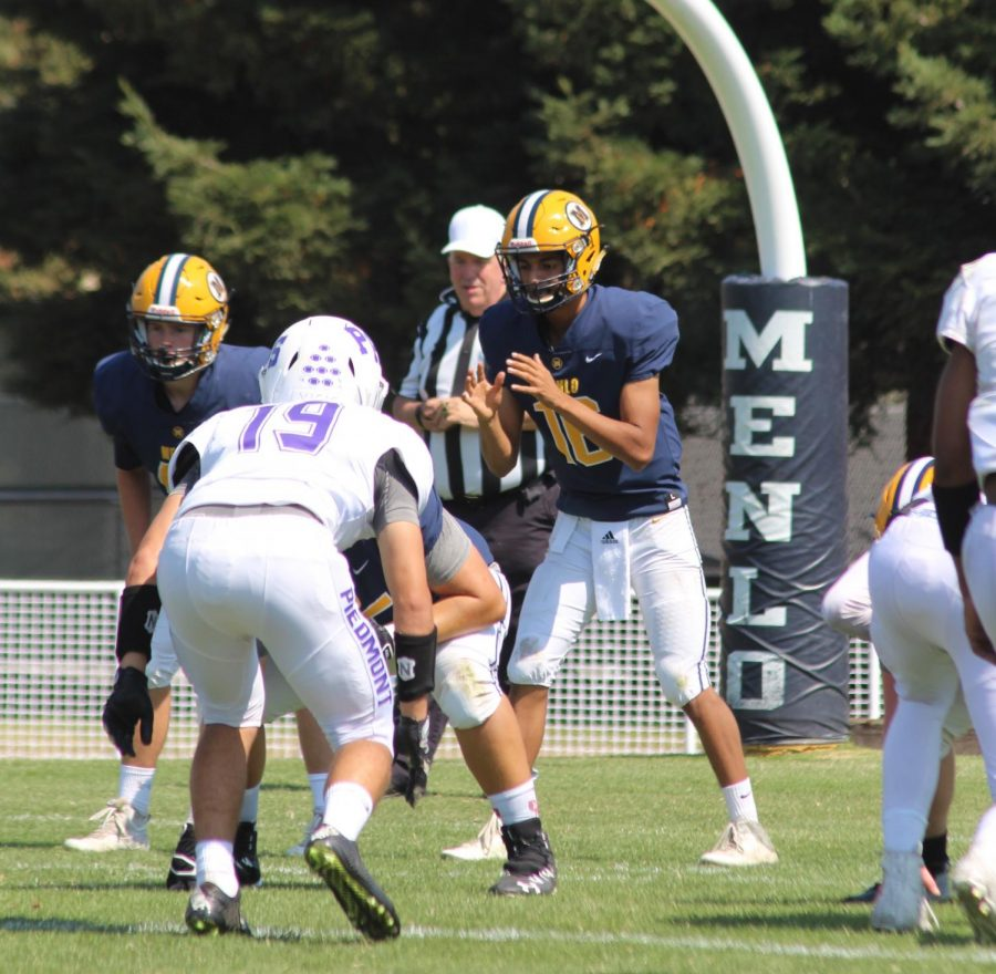 Quarterback+Kevin+Alarcon+pictured+during+previous+home+game+against+Piedmont+High+School+on+Sept.+1.+Staff+Photo%3A+Bella+Scola.