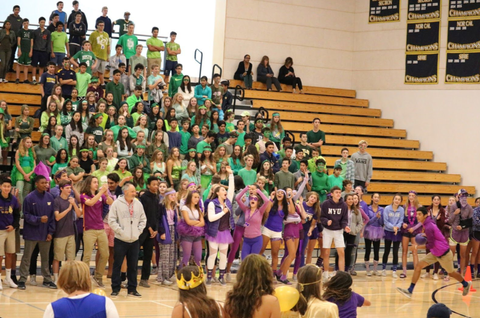 Menlo students competing in dodgeball on color day last year. Staff Photo: Bella Scola.