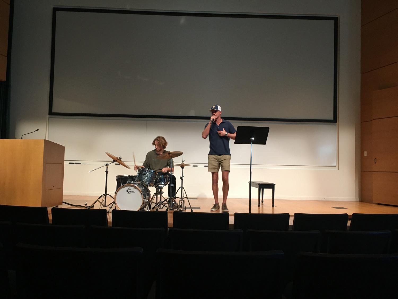 Jack Bowen and Aaron Morgan performing at the Litmag Slam. Staff Photo: Samantha Stevens