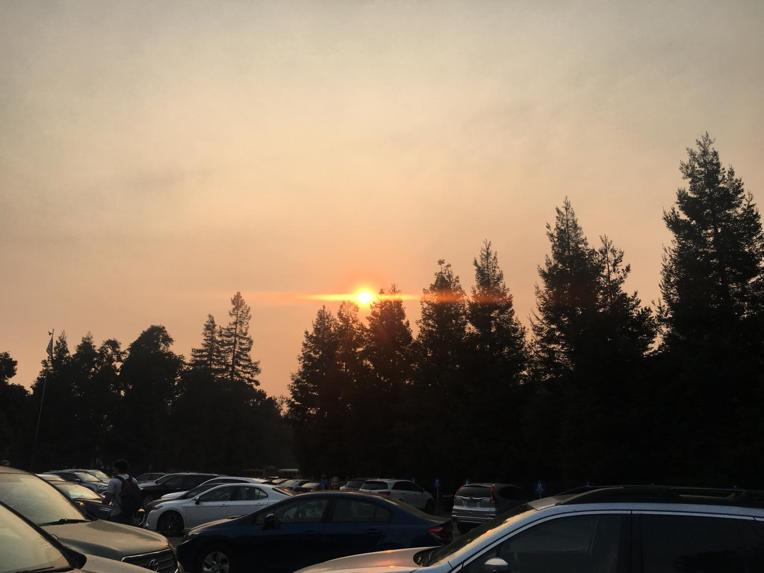 Smoke from the Camp Fire has reduced air quality to an unhealthy level in the Bay Area. Staff Photo: Clara Guthrie.
