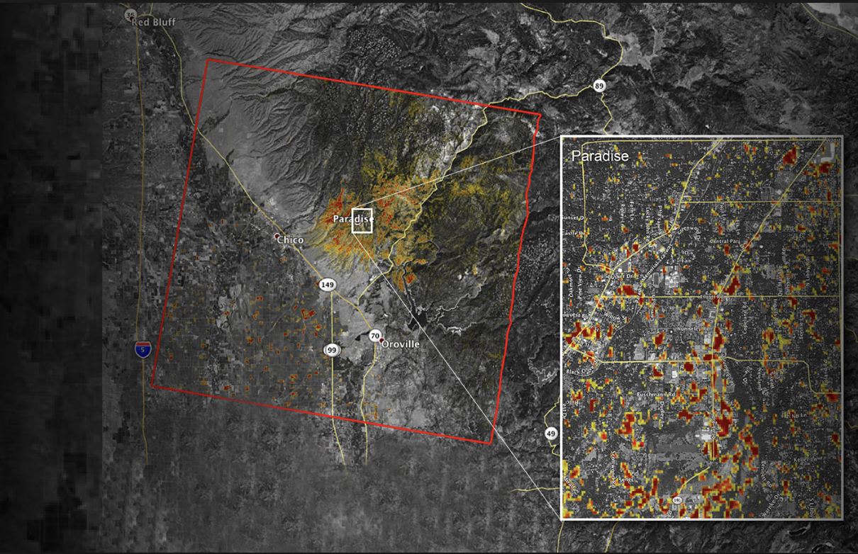 NASA's updated map of the Camp Fire damage shot from space. Creative Commons Image: NASA/JPL-Caltech.