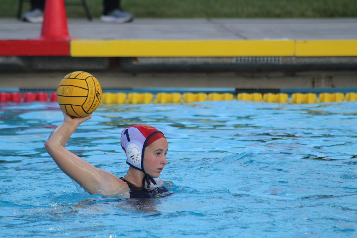 Senior Natalie Hilderbrand looks to pass the ball. Staff Photo: Bella Scola.
