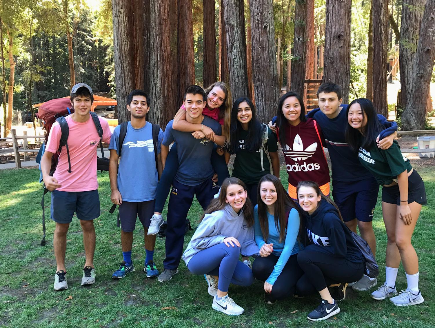 Group of seniors from the class of 2019 pose for a picture at the senior class retreat. Photo courtesy of Kate Jeffries.