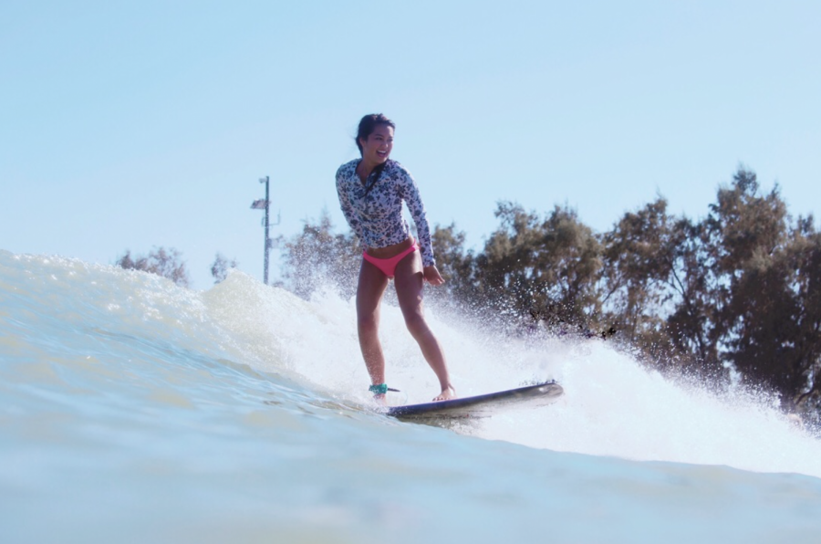 Izzy+Banatao+catches+a+wave+at+Kelly+Slater%E2%80%99s+Surf+Ranch+in+Lemoore+California.+The+Surf+Ranch+allows+for+people+to+surf+on+man-made+waves%2C+100+miles+away+from+the+ocean.+Photo+courtesy+of+Izzy+Banatao.
