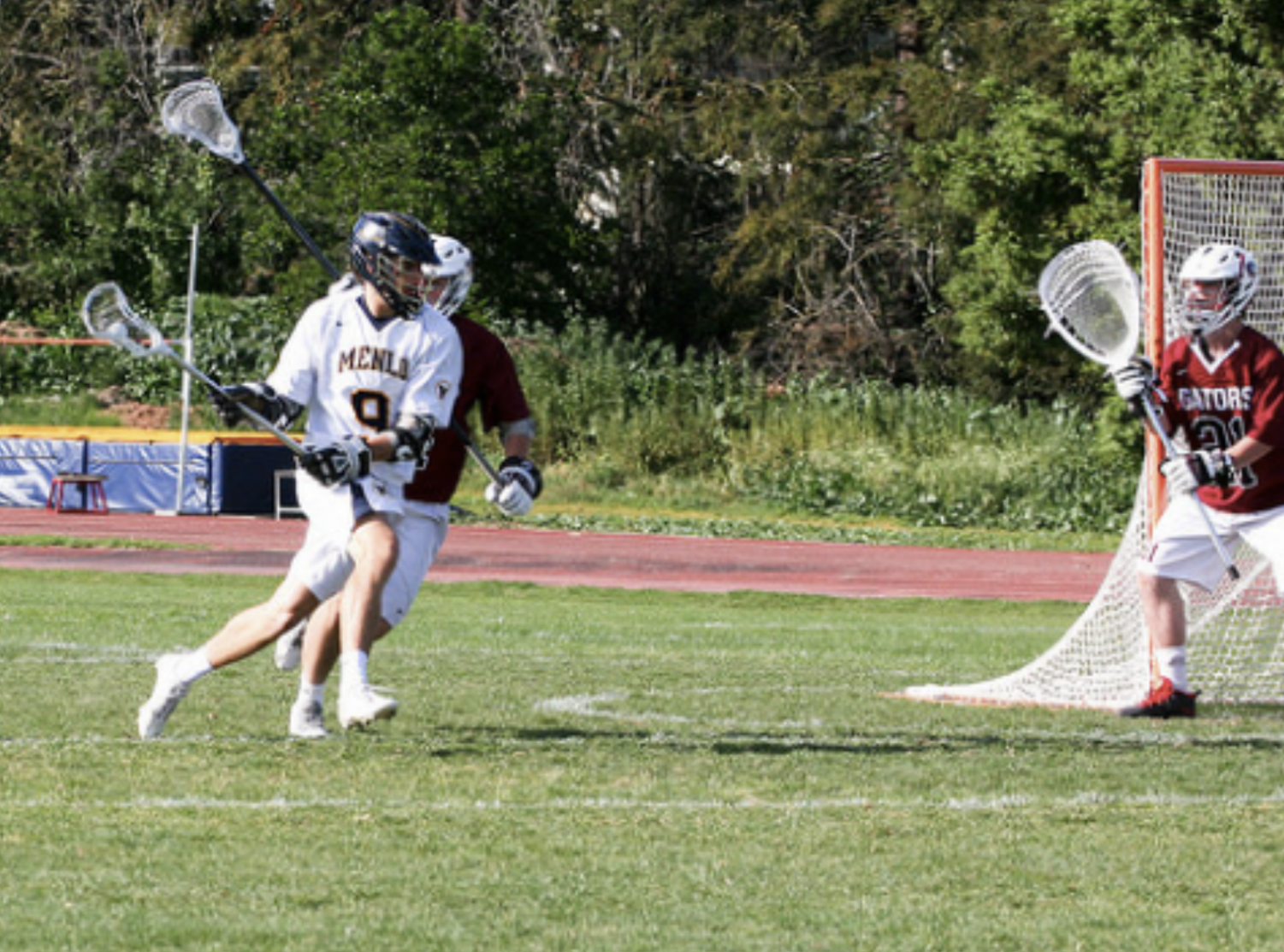 The Knights driving towards the goal in their 2018 game against Sacred Heart Prep. Photo courtesy of Pam Tso McKenney.