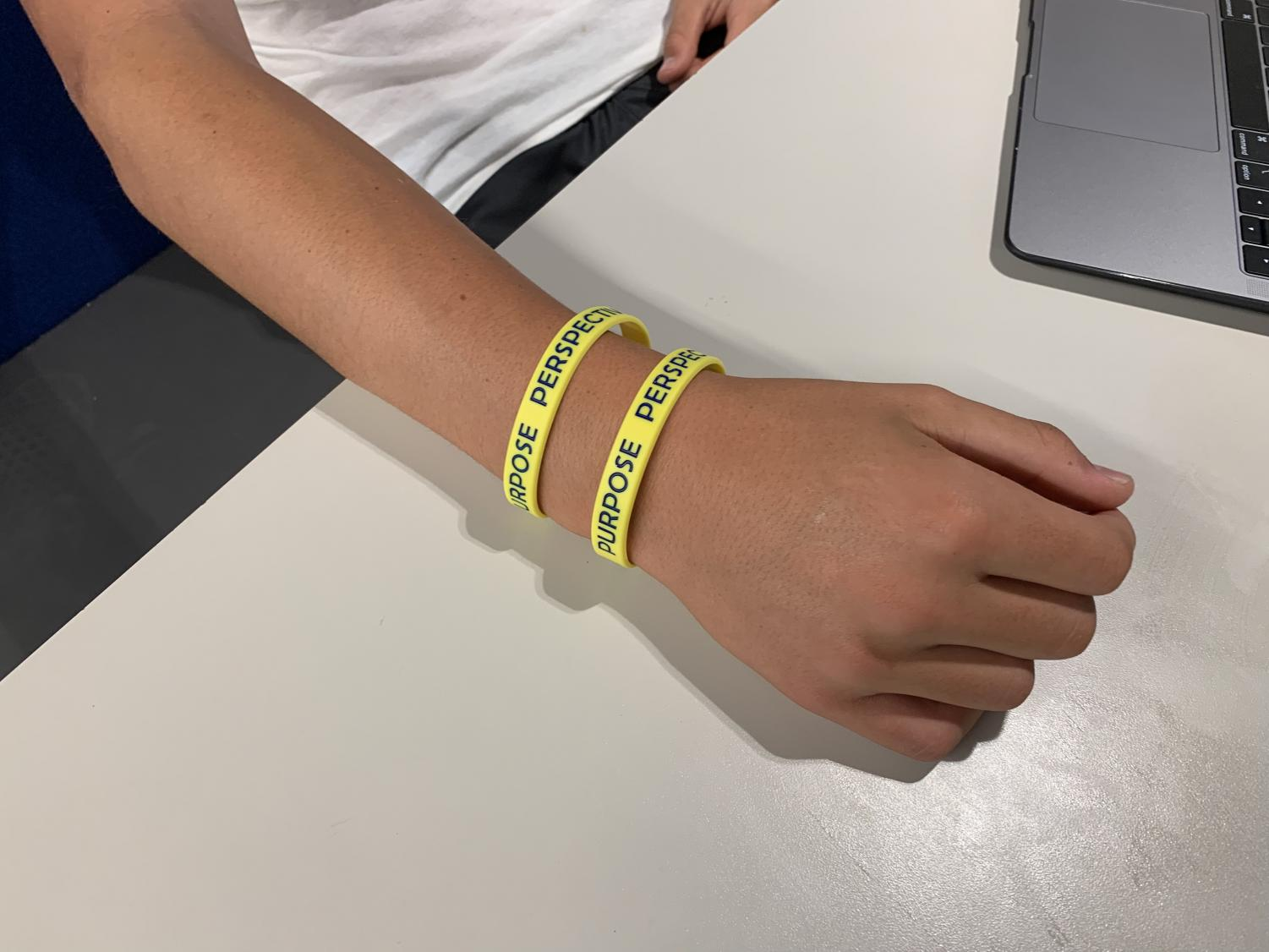 At the first assembly, student council passed out wristbands with the three P's written on it. Students are encouraged to wear them to keep these values in mind. Staff Photo: Chase Hurwitz.