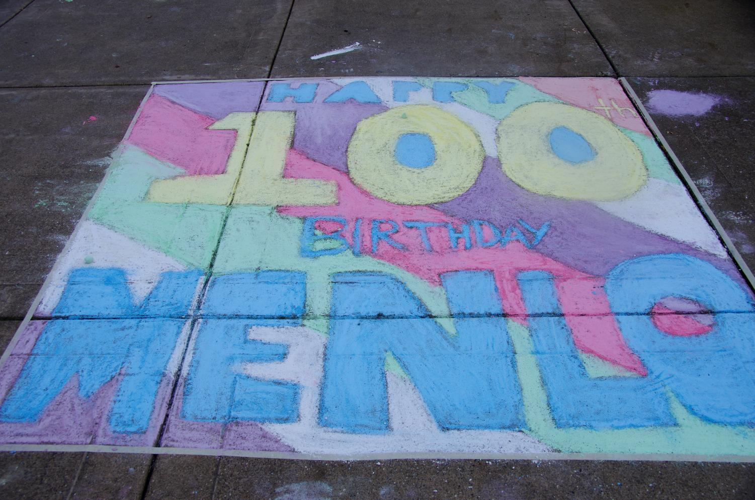 A chalk drawing celebrating Menlo's centennial in 2015. The quiet phase of the Centennial fundraising campaign began at the school's centennial, and it is being launched to the public at a celebration on the loop before the homecoming football game. Photo courtesy of Menlo Flickr.