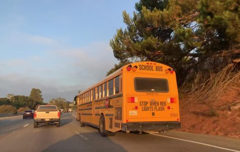 The Los Altos and Cupertino bus drives students to school on the I-280 highway at 7:50 in the morning. Staff Photo: Shefali Sahai.