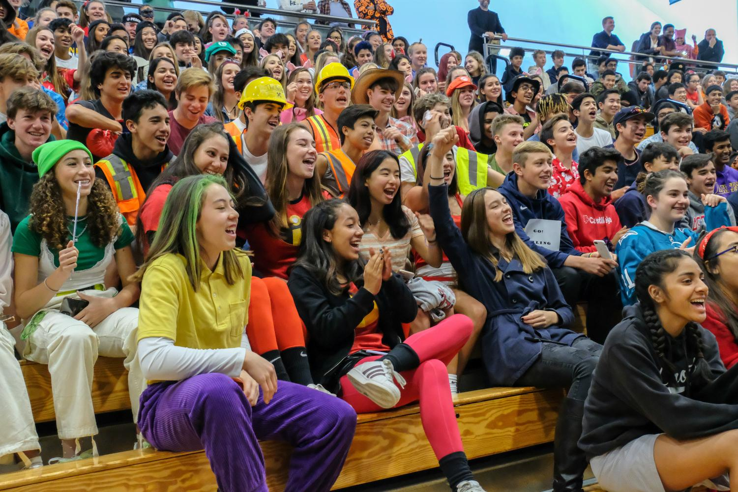 Sophomores cheer for participants in the costume competition. Categories included: scariest, funniest, best STEM, best fictional, best individual, and best grade. Photo Courtesy of Pete Zivkov.