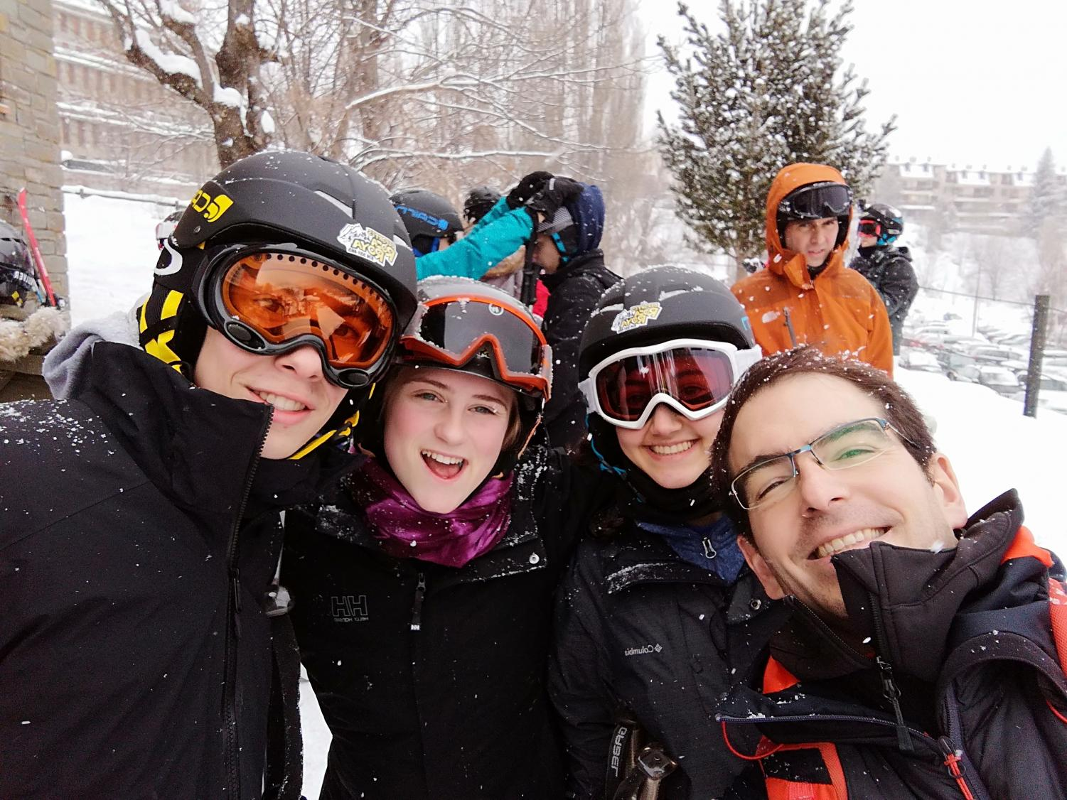 James Leupold with his science teacher and friends on an SYA school ski trip. Photo Courtesy of James Leupold.