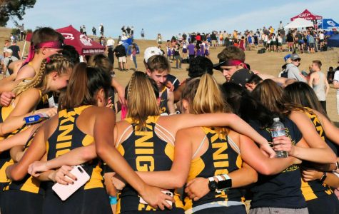 Coach Jorge Chen congratulates both the girls and boys cross country team in a huddle after learning that they qualified for states. Staff Photo: Bella Guel.