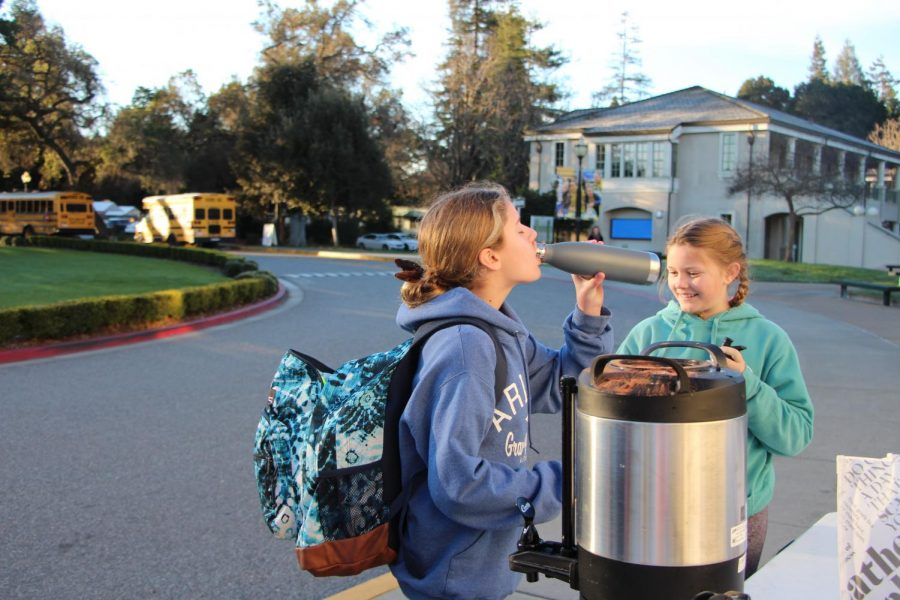 Each morning, students who bring reusable cups are offered hot chocolate. Staff Photo: Sadie Stinson.