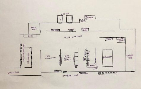 A blueprint sketch of the kitchen layout. Staff Illustration: Emily Han.