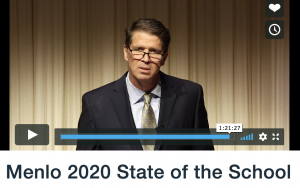 Head of School Than Healy delivers the 2020 State of the School speech through a video on Vimeo instead of the normal speech delivered in Martin Hall. Staff Photo: Sylvie Venuto