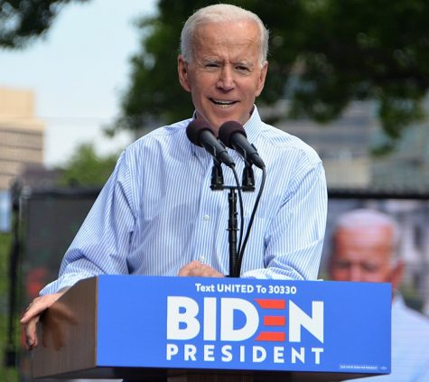 The presumptive Democratic nominee Joe Biden speaks at his kickoff rally in May 2019. Creative Commons Image: Michael Stokes on Wikimedia Commons.