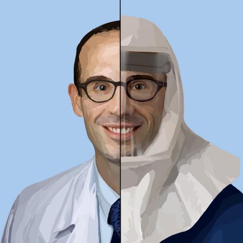A portrait of Dr. Brian Thomas Garibaldi. Though Johns Hopkins has limited the number of people who go into patient rooms and doctors must wear heavy PPE, patients get to schedule Zoom calls with their families on tablets. Staff Illustration: Grace Tang.