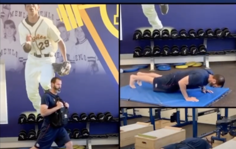 Director of Sports Performance and Wellness Jesse Lindenstein participates in the Menlo Performance workout each day.