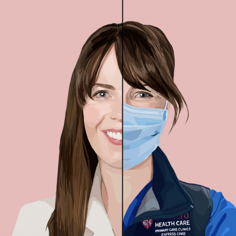A portrait of Dr. Lucy Kalinthi. Stanford mandated that all medical personnel must wear masks in clinic. Staff Illustration: Grace Tang.
