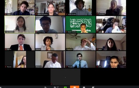 Delegates from several schools formed a committee that discussed and debated world issues during the second session of the virtual conference. Photo courtesy of Ayla Seddighnezhad.