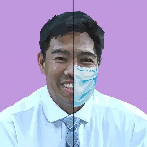 A portrait of Dr. David Chang. The San Mateo County Public Health Department, where Chang is an assistant health officer, has been largely focusing on the impact that their decisions regarding the coronavirus pandemic have on at-risk health populations and health disparities. Staff Illustration: Grace Tang.