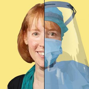 A portrait of Nurse Practitioner Kelly Sanderson. She went to New York City in early May to provide health care for patients in an underfunded hospital. Staff Illustration: Grace Tang.