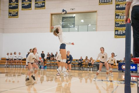 The girls volleyball team plays a match during the 2019-2020 season. Staff photo: Sadie Stinson.