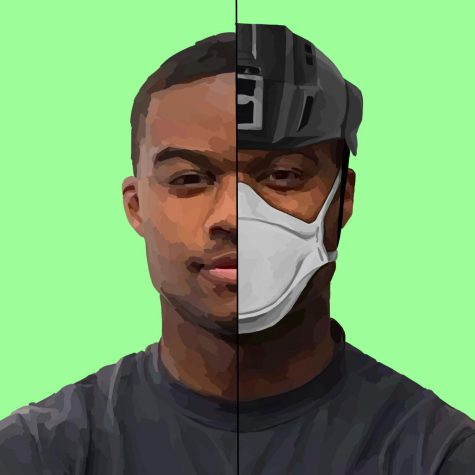 A portrait of firefighter, engineer and paramedic Charles Washington. Firefighters started to take extra precautions with their gear since the start of the coronavirus pandemic, including wearing N-95 masks and glasses on certain calls. Staff Illustration: Grace Tang.