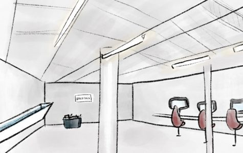 A rough sketch of what the new space in Whitaker Lab will partially look like. The water trough is drawn on the left, the robotics space is in the back and the counter along the wall is on the right. Illustration courtesy of Mallika Tatavarti.