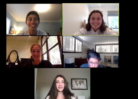 Senior Sadie Stinson and her freshmen mentorship group meet over Zoom to discuss the start of the school year. Staff photo: Sadie Stinson.