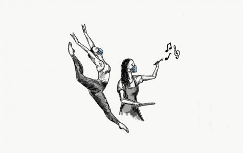 While on-campus classes remain closed, Menlo Drama, dance and Mural Club all plan to hold after-school enrichment programs. Illustration courtesy of Michele Hratko.