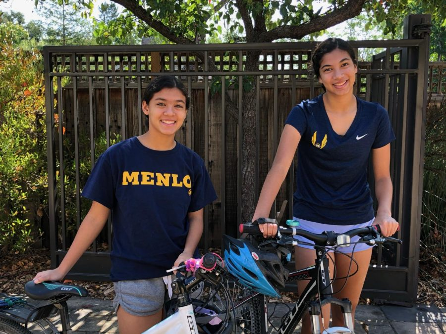 """Caption: Pictured from left to right, sophomore Ellie and senior Stella El-Fishawy gear up for the annual Peninsula Bridge Fun Run. This year, participants attempted the 5k in their own neighborhoods due to COVID-19 safety measures. """"Especially during this time when everyone is isolated, it's nice to feel a part of a larger community by contributing to the same cause,"""" Ellie El-Fishawy said. Photo courtesy of Ellie El-Fishawy."""