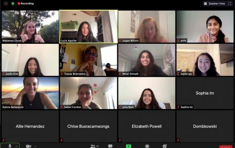 Cooking club meets via Zoom. Freshmen Makenna Olson and Lucia Aguilar decided to start cooking club as a way to connect with other students during virtual learning through a shared interest. Photo courtesy of Makenna Olson.