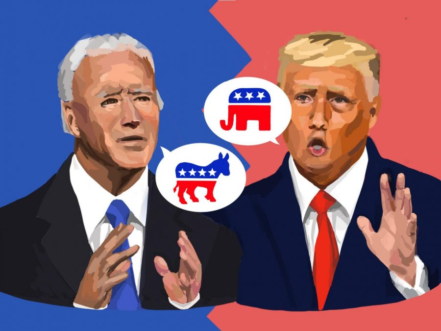 The results of the 2020 election could substantially impact several contentious matters in the United States, according to Menlo community members. In addition to these consequential matters, controversies over voting have also arisen so far during the period leading up to this year's election. Staff illustration: Grace Tang.