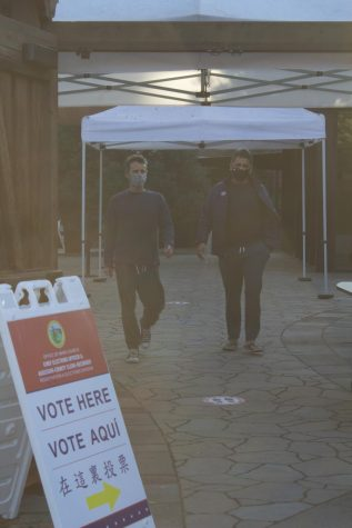 People walk out of the polling area in San Mateo County. Polling booths had to be re-imagined to fit COVID-19 social distancing regulations. Photo courtesy of Reena Kagan.