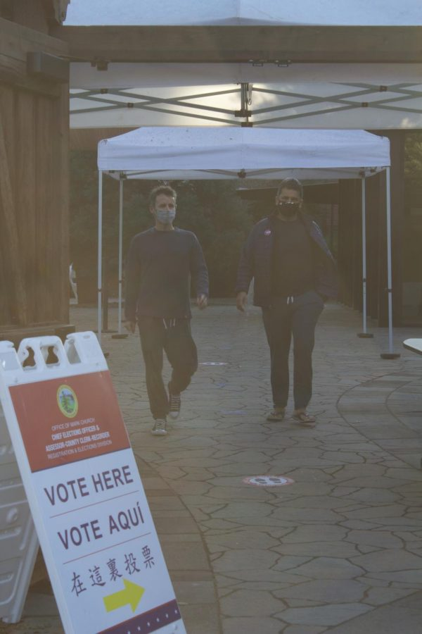 People+walk+out+of+the+polling+area+in+San+Mateo+County.+Polling+booths+had+to+be+re-imagined+to+fit+COVID-19+social+distancing+regulations.+Photo+courtesy+of+Reena+Kagan.
