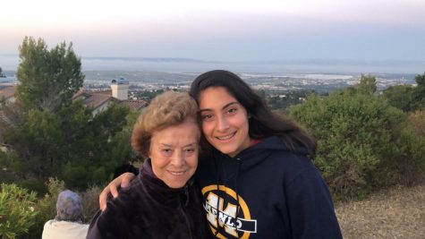 Junior Ayla Seddighnezhad and her grandmother, 82-year-old Maliheh Pirasteh, pose for a picture during a hike together. Photo courtesy of Ayla Seddighnezhad.
