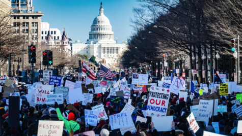 Anti-Trump protesters rally outside of the Capitol in opposition to the Trump supporters who rioted at the Capitol on January 6th, 2021. Creative Commons photo: Ted Eytan on Flickr.