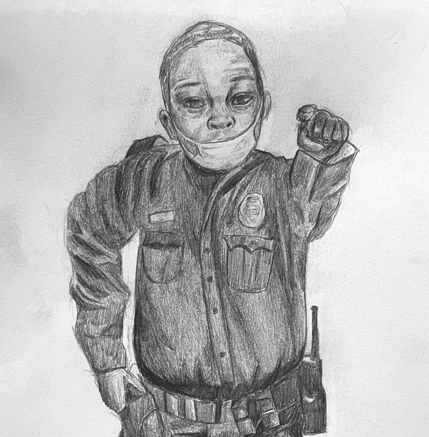 Capitol police officer Eugene Goodman helped protect the building during the Jan. 6 riot. Staff illustration: Andrea Li.