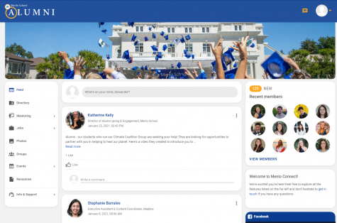 Menlo Connect, a new platform created by Director of Alumni Katherine Kelly and the Alumni Executive Committee, is available to members of the Menlo community for networking, connections and mentorship opportunities. Screengrab: https://menloconnect.com/.