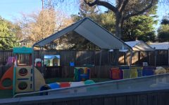 "Children in the Menlo daycare program are not permitted to leave their fenced-in yard and interact with their parents and others on campus as they used to. ""They're not allowed to mix nor roam about campus,"" Health Services Coordinator and Administrator of the Child Care Center Joan Barada said. Photo courtesy of Lisa Williams."