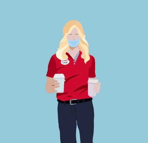 During the pandemic, sophomore Chloe Appel started working at Chick-fil-A as her first job ever. Staff illustration: Sophie Fang.