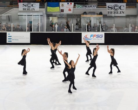 San Francisco Ice Theatre has advanced to compete at Nations' Cup twice during my time on the team. My freshman year, I missed an entire week of school to travel to Épinal, France, where the competition was held. Photo courtesy of Ken Chan.