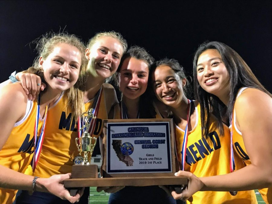 Menlo alumin Lauren Hamilton ('19), Kyra Petre ('20), Charlotte Tomkinson ('20), Michelle Louie ('20) and Alexandra Chan ('19) smile for the camera after winning the 2019 Girls CCS Track Championships. Photo courtesy of Jorge Chen.