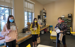 Students pick up their lab kits for MBEST at school while socially distancing. Photo courtesy of Nina Arnberg.