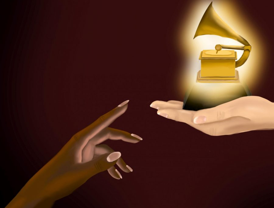 While 81% of Billboard's Top 10 best-selling albums are made by non-white or mixed-race groups of artists, musicians of color only received 26.7% of Grammy nominations from 2012 to 2020. Staff illustration: Tatum Herrin.