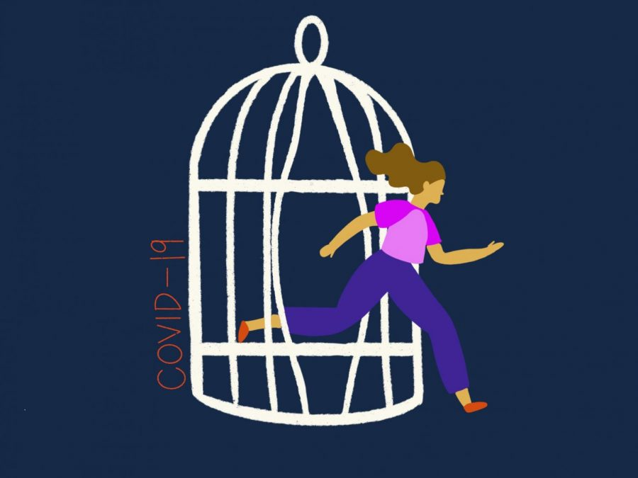 A year after the pandemic started, some students are beginning to feel like they are escaping from the cage of COVID-19. Still, others feel lasting effects that continue to impact their lives. Staff illustration: Sophie Fang.