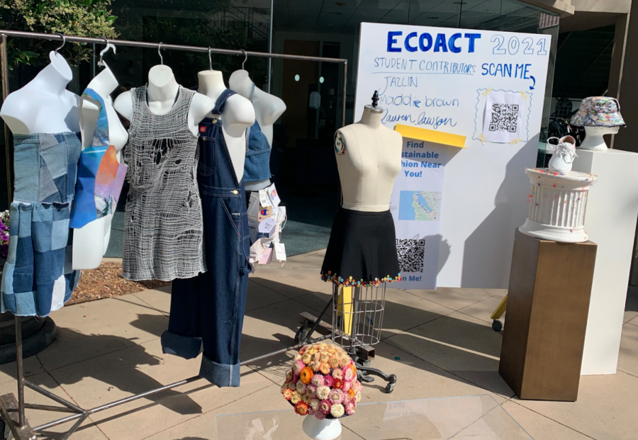 The Climate Coalition showcased student-made clothing pieces for their sustainable fashion auction during EcoAct Week. Staff photo: Louisa Sonsini.