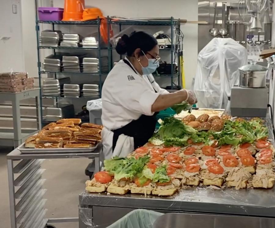 Video: Menlo Flik Dining Staff Explains Their Typical Food Preparation Schedule
